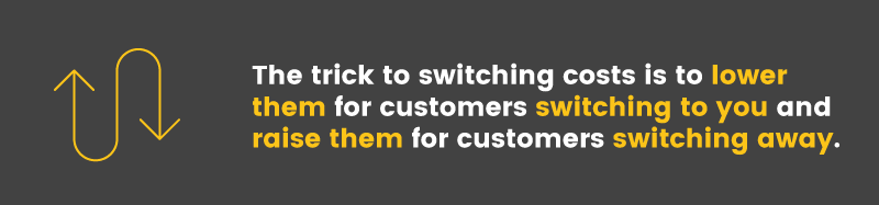 The trick to switching costs is to lower them for customers switching to you and raise them for customers switching away
