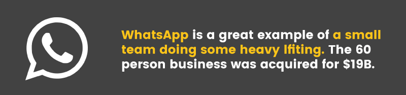 WhatsApp is a great example of a small team that scaled their business quickly