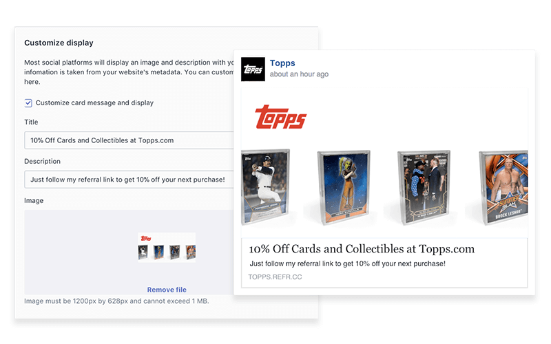 Tops Referral Share Message in Smile.io