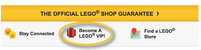 LEGO VIP program email footer