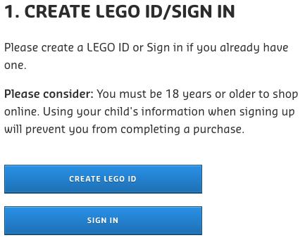 LEGO VIP program age restriction