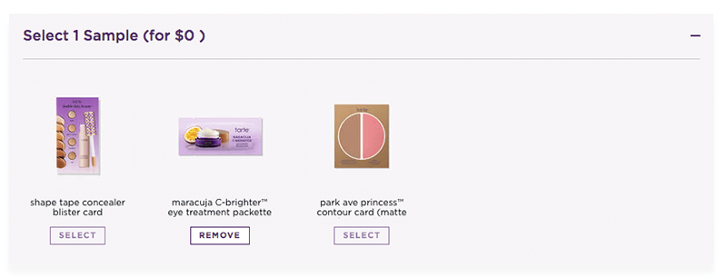 Tarte free loyalty samples