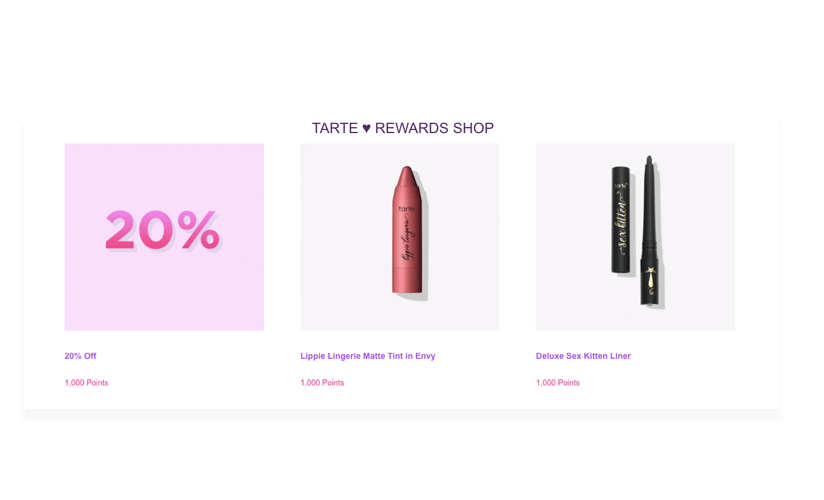 tarte Rewards catalogue