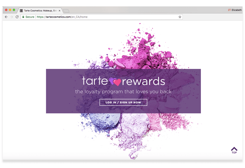 tarte rewards call to action