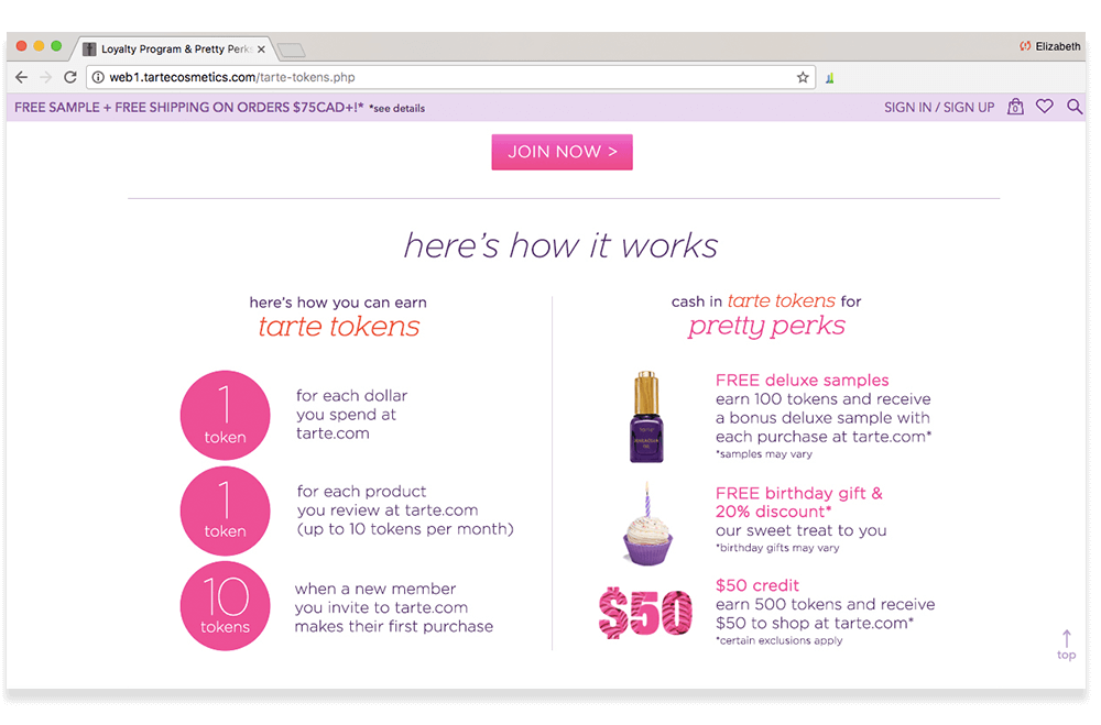 tarte Pretty Perks program