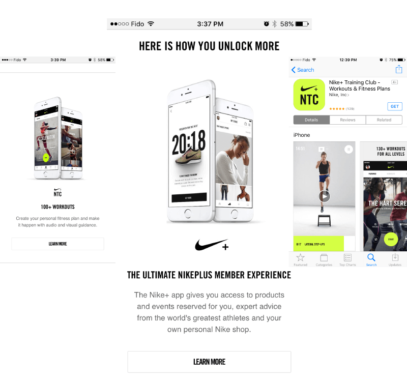 Nike+ is expertly optimized for mobile consumption