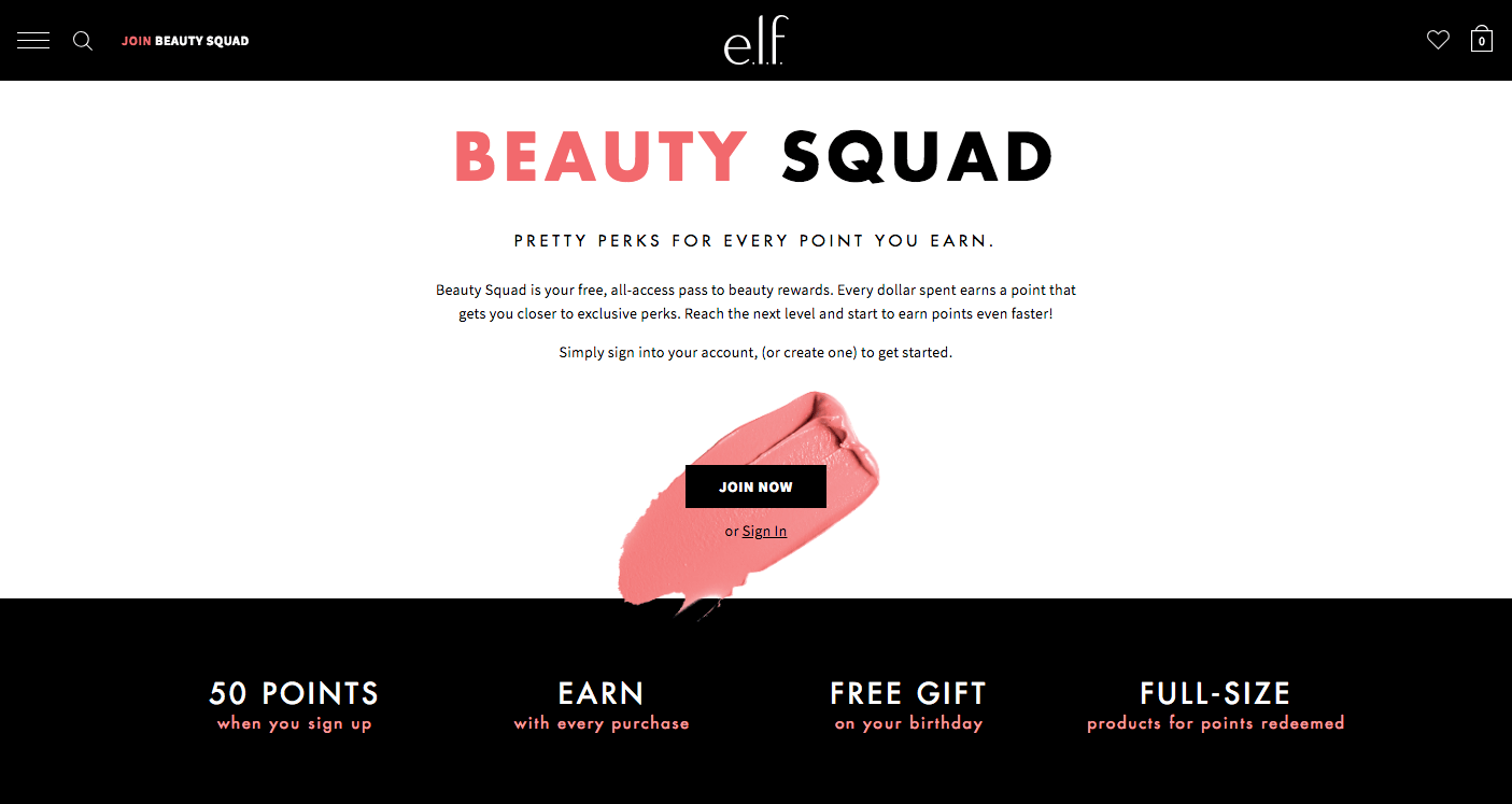 Creative Rewards Program Names Elf beauty Squad Rewards Page Join Now