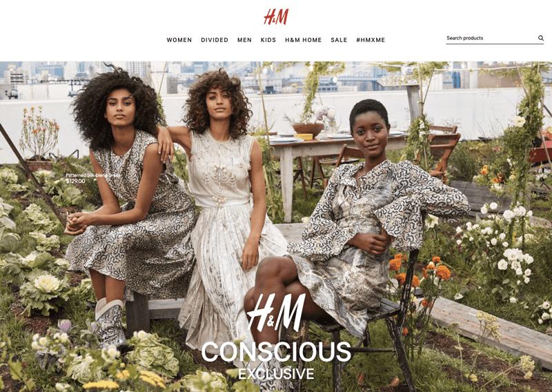 H&M Conscious social responsibility landing page