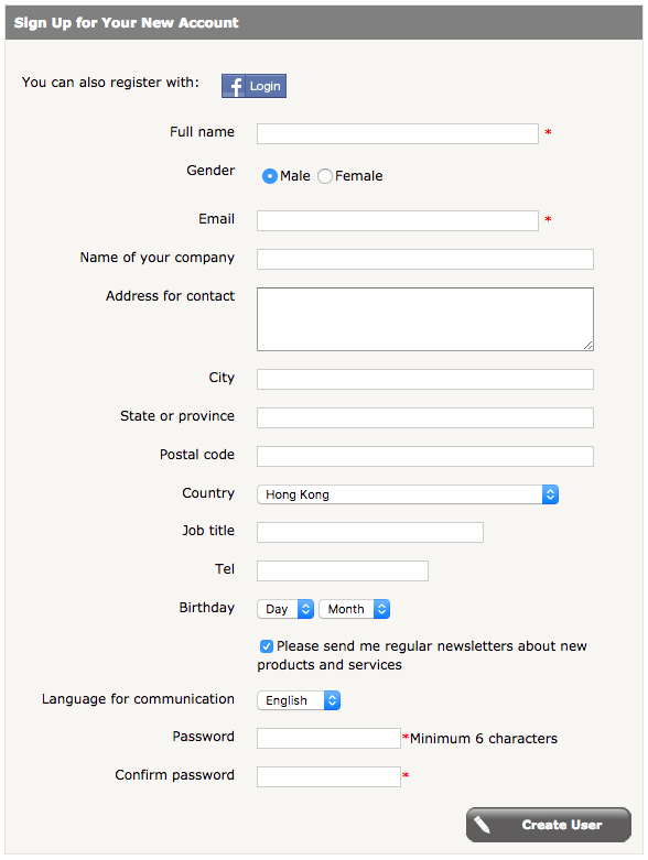A long account creation form is one of the key reasons for shopping cart abandonment