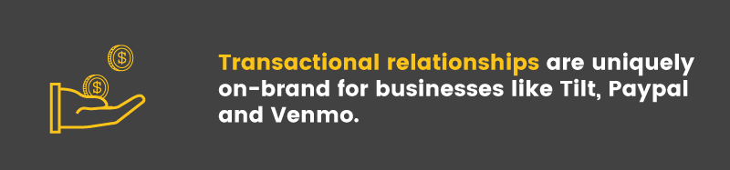 Because they deal with money, the Tilt, Venmo, and Paypal referral programs can be transactional in nature
