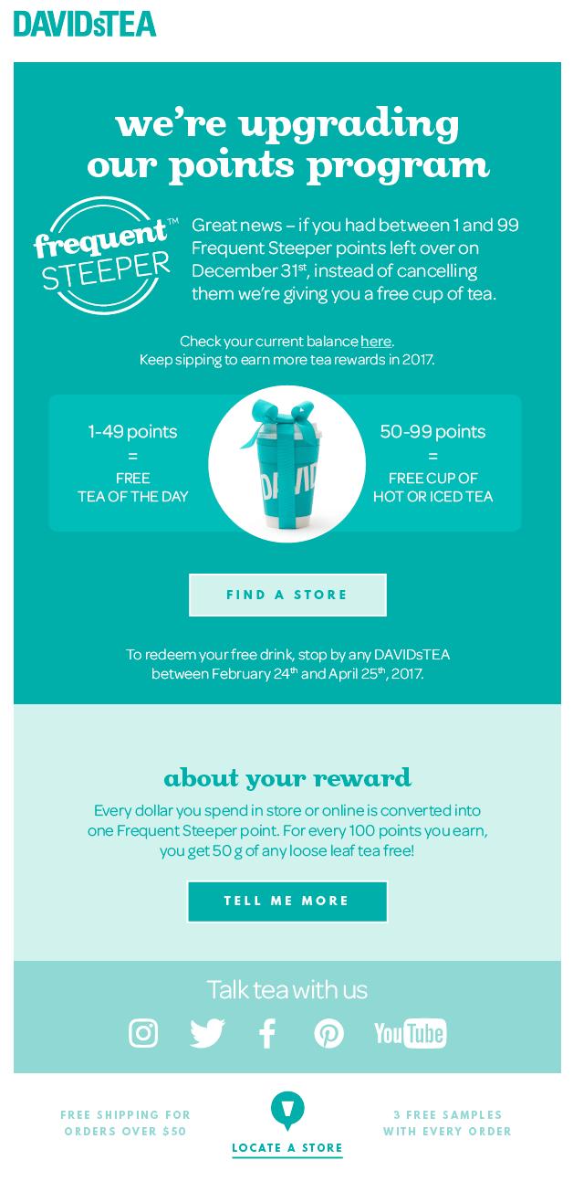 Davids tea rewards program changes example email