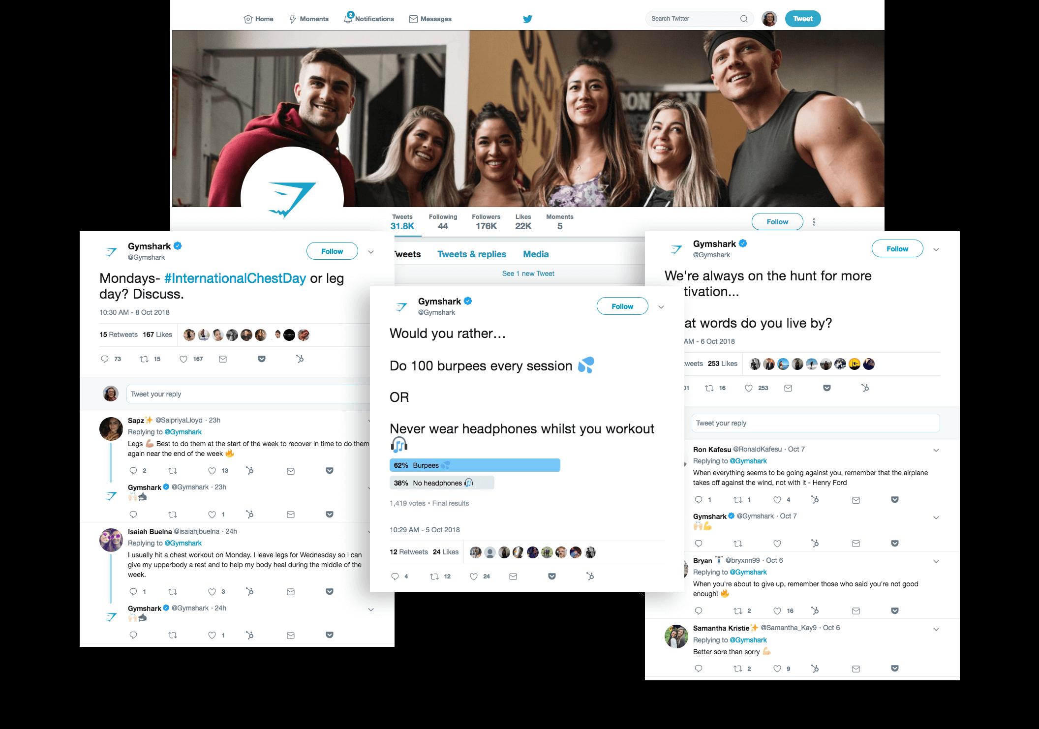 conversational commerce gymshark twitter