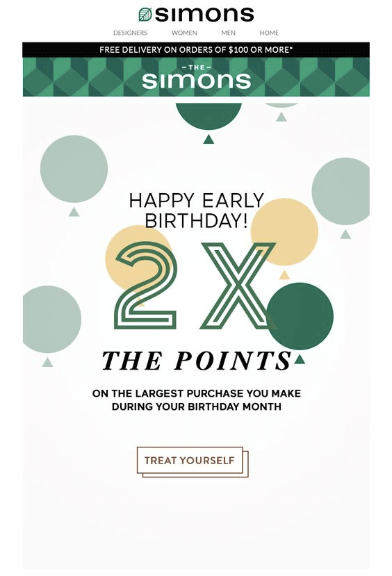 Simons birthday email