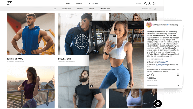 Gymshark builds emotional relationships with brand ambassadors