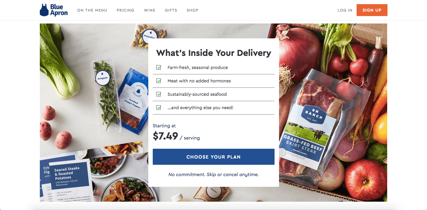 Transactional business Blue Apron's homepage