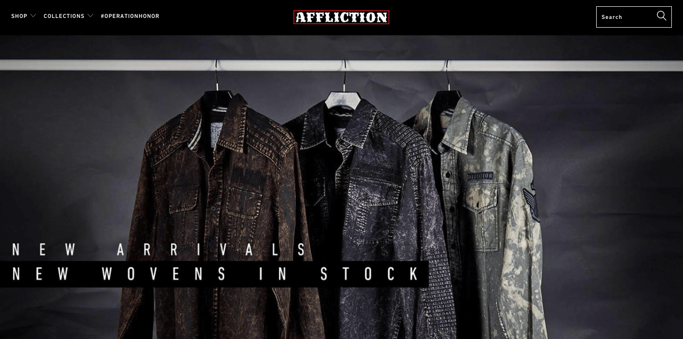 How Lifestyle Marketing can Improve Online Community - Affliction clothing - home page new woven shirts