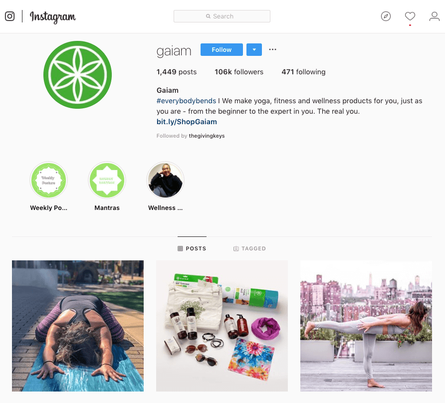 How Lifestyle Marketing can Improve Online Community - Gaiam instagram