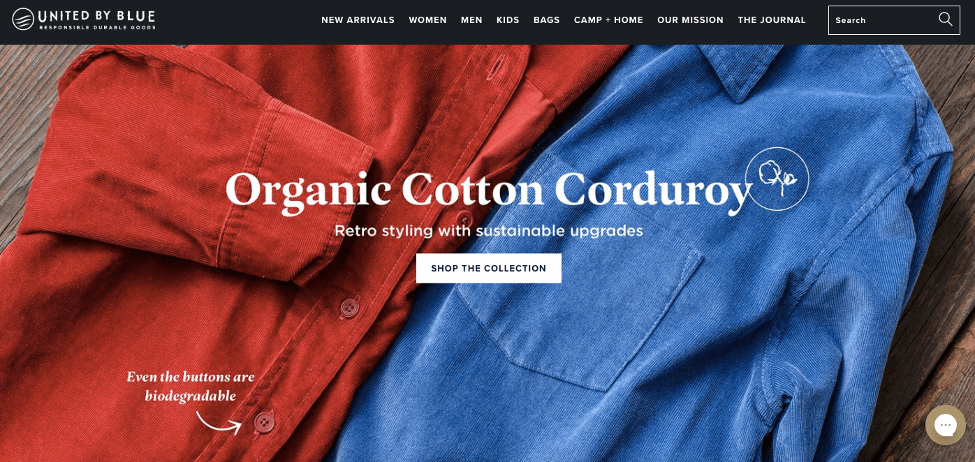 How Lifestyle Marketing can Improve Online Community - United by Blue home - organic cotton corduroy shirts