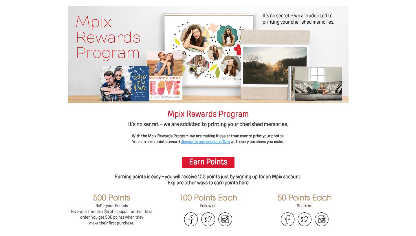 Mpix Rewards landing page