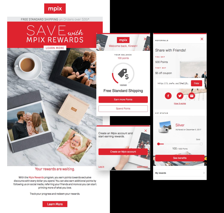 Mpix rewards panel and marketing email