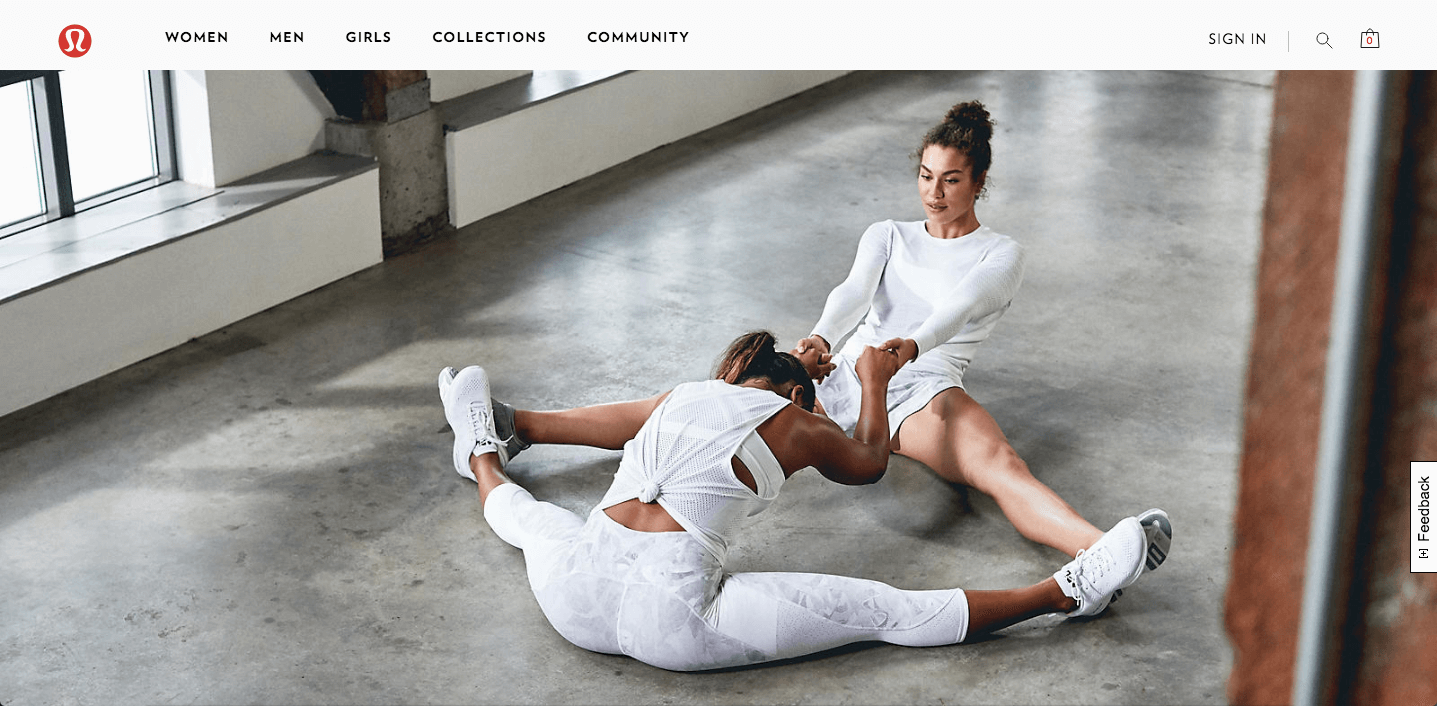 Lululemon's homepage with two women working out together