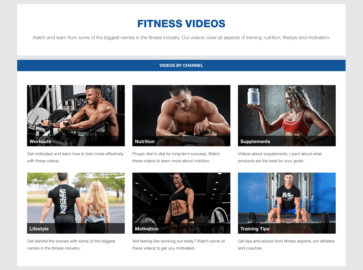 Muscle & Strength fitness videos