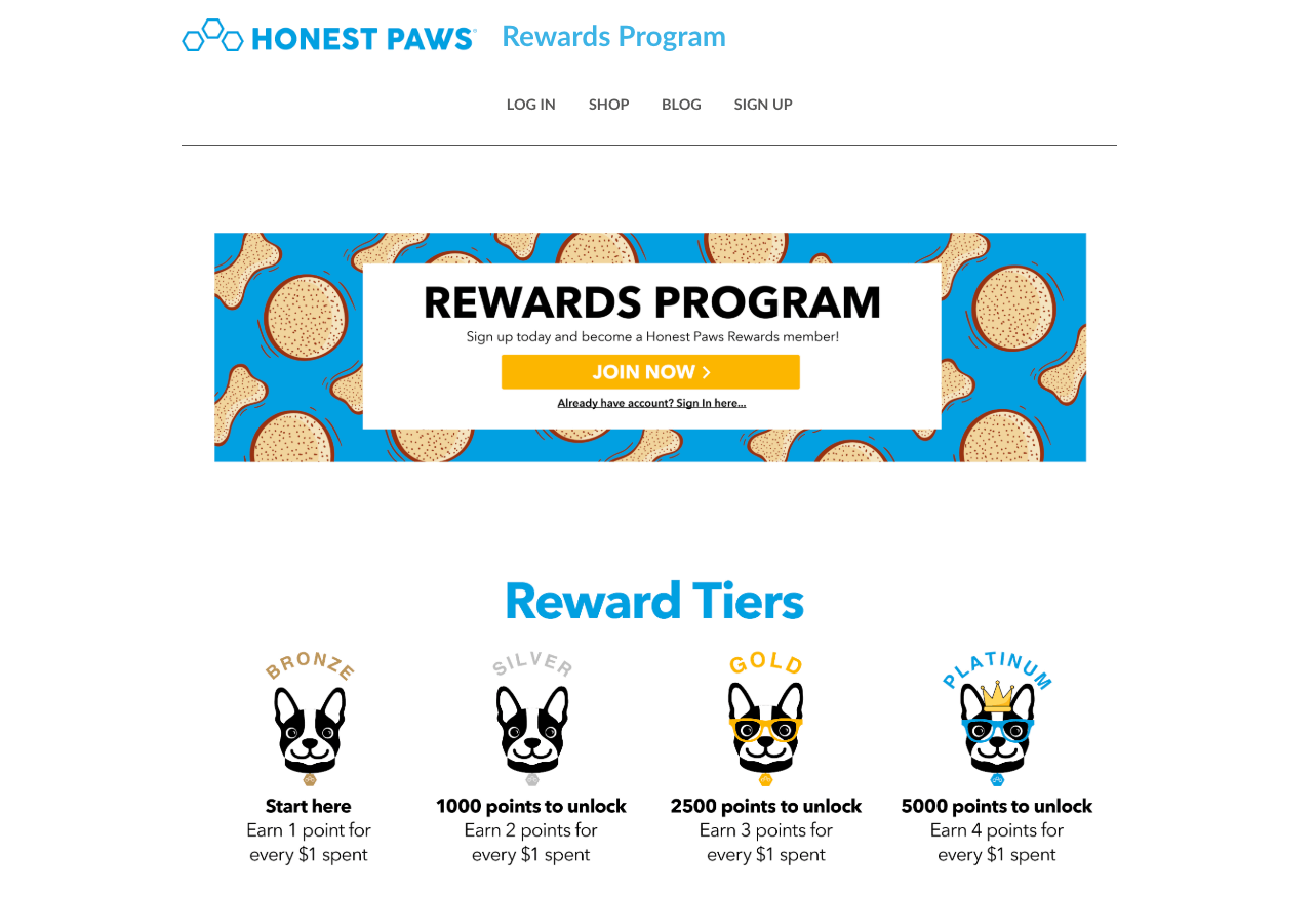 How to build a rewards program in pet supplies - honest paws tiers