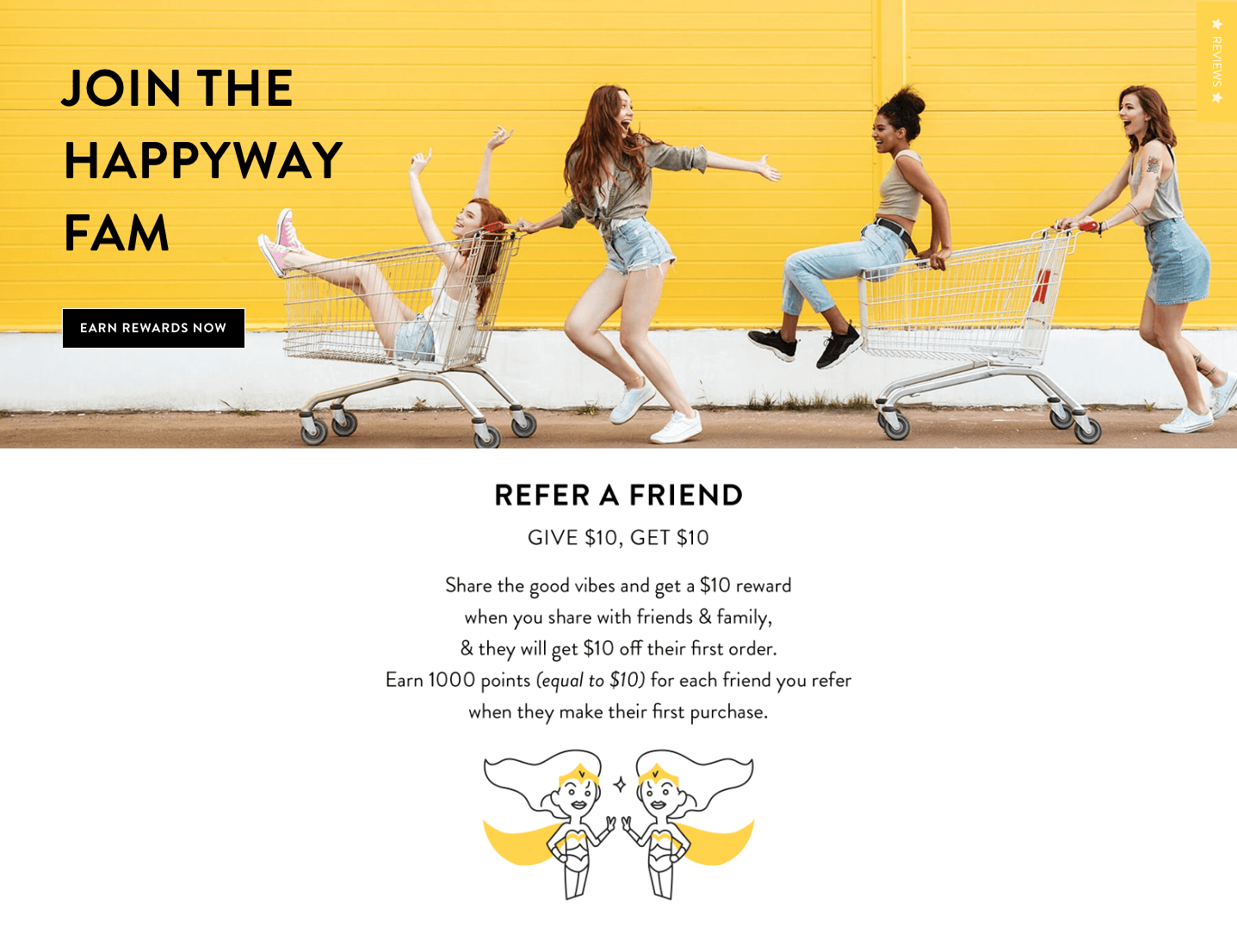 Happyway rewards refer-a-friend description