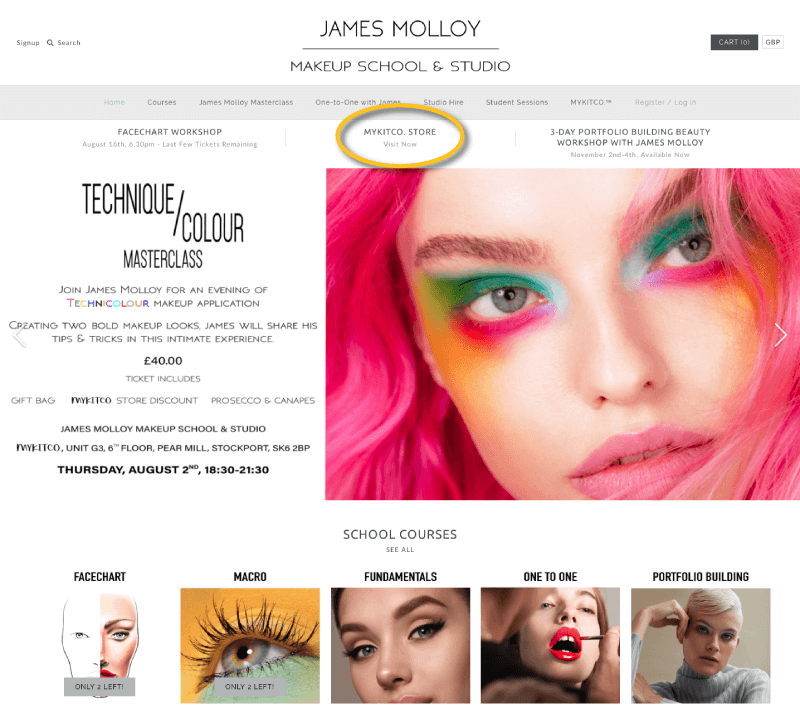 James Molloy makeup school classes