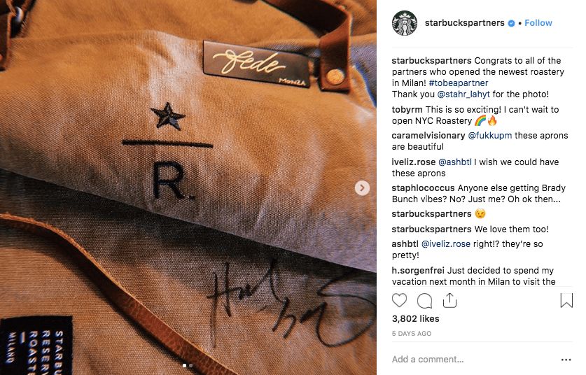How to Turn Customer into Brand Advocates - Starbucks Partners Instagram  - Apron for new Reserve Roastery in Milan