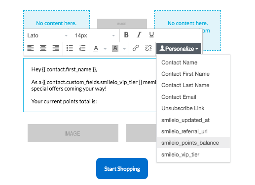 new Smile app Privy - Screenshot smile attributes to personalize privy emails