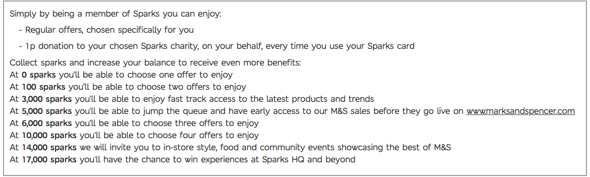 Rewards Case Study M&S Spark Rewards - all 8 tiers as shown in FAQ