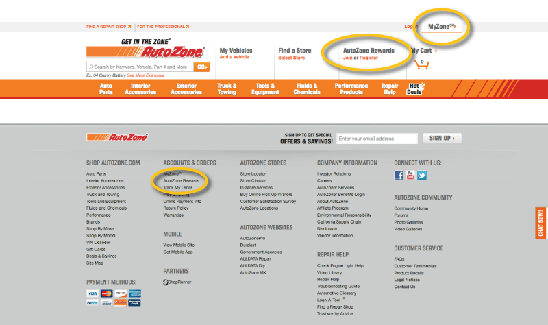 autozone rewards links on homepage