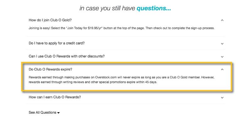 Club O Rewards expiration FAQ