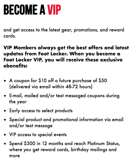 Foot Locker VIP Explainer Page