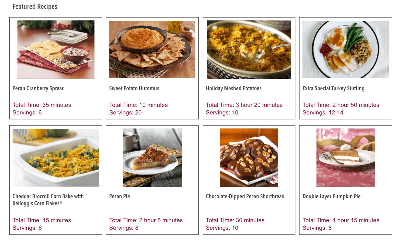 Kellogg's Family Rewards recipe menu