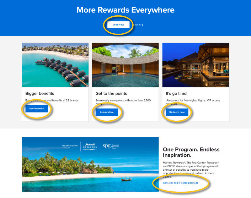 Marriott Rewards links everywhere