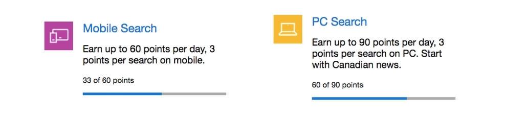 Microsoft Rewards progress bars