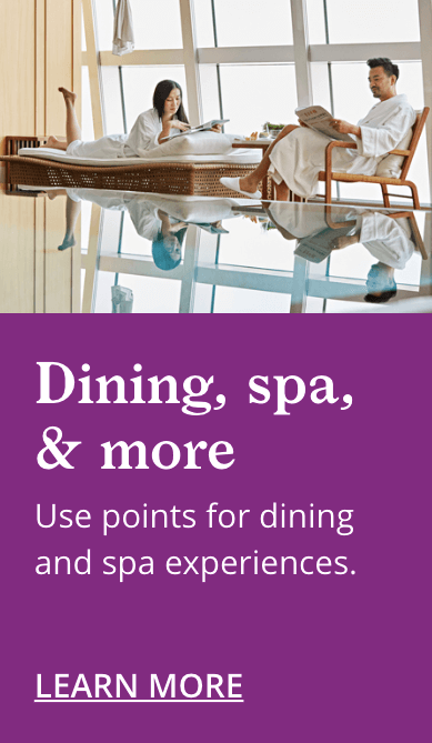 World of Hyatt VIP Program Dining and Spa