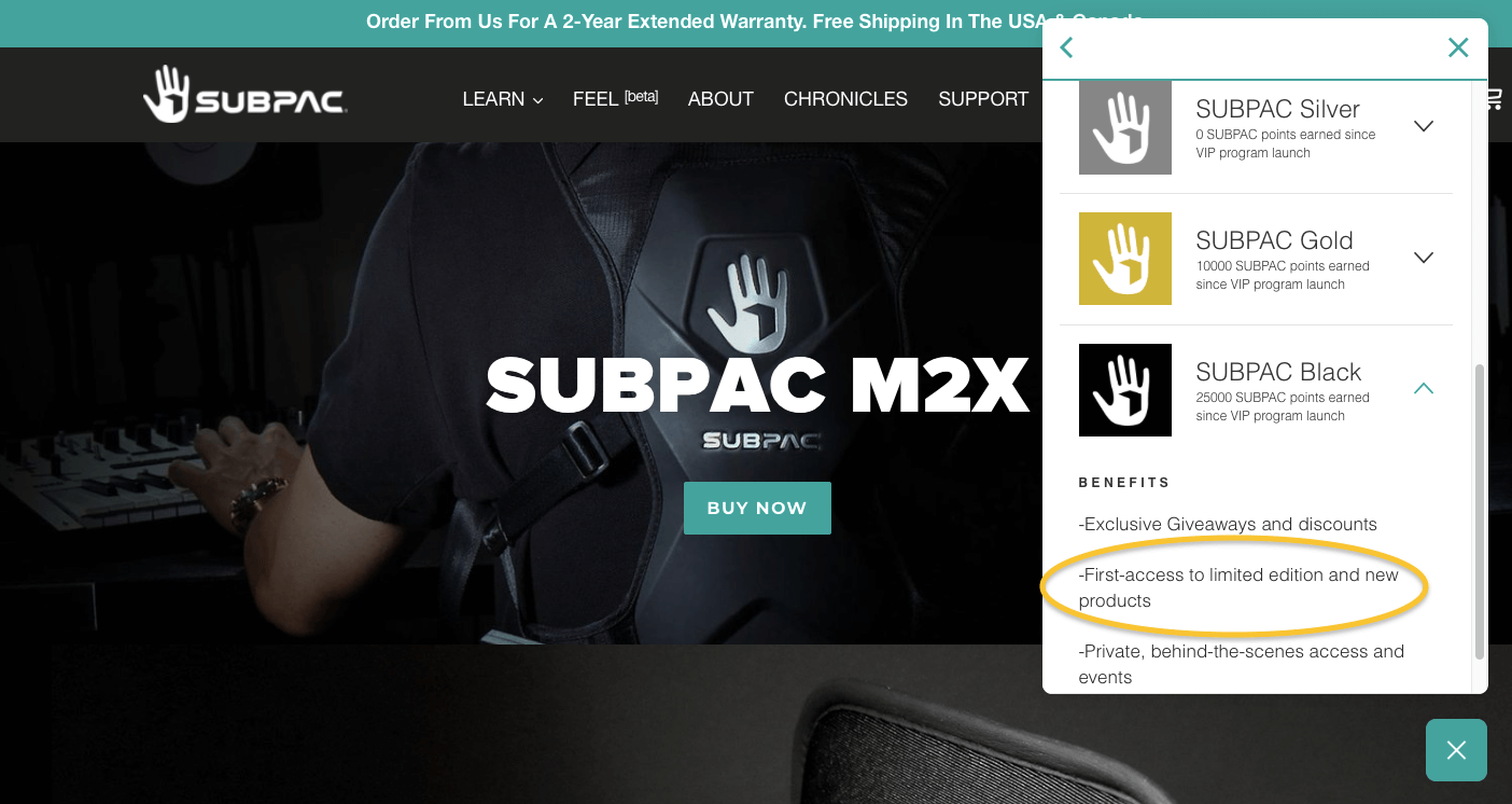 Subpac Top Tier Exclusive Benefits