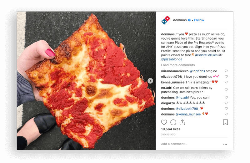Domino's Points for Pies Instagram post