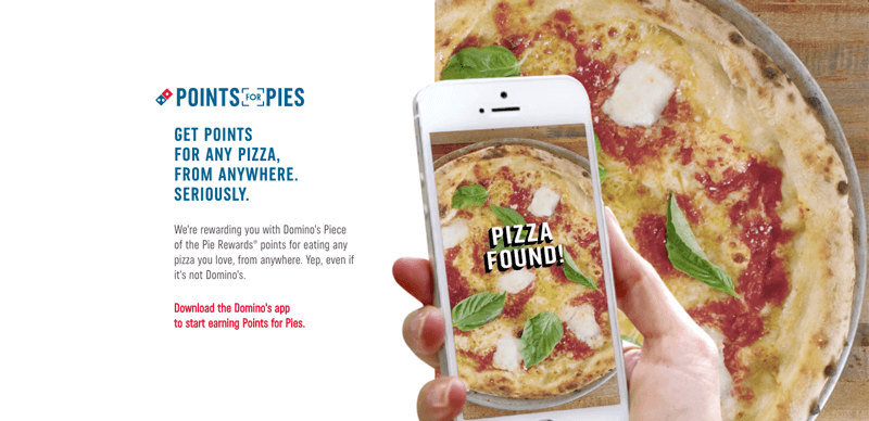 Domino's Points for Pies landing page