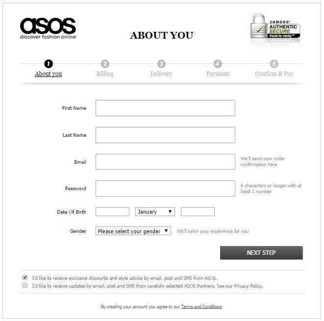convert visitors into buyers asos progress bar