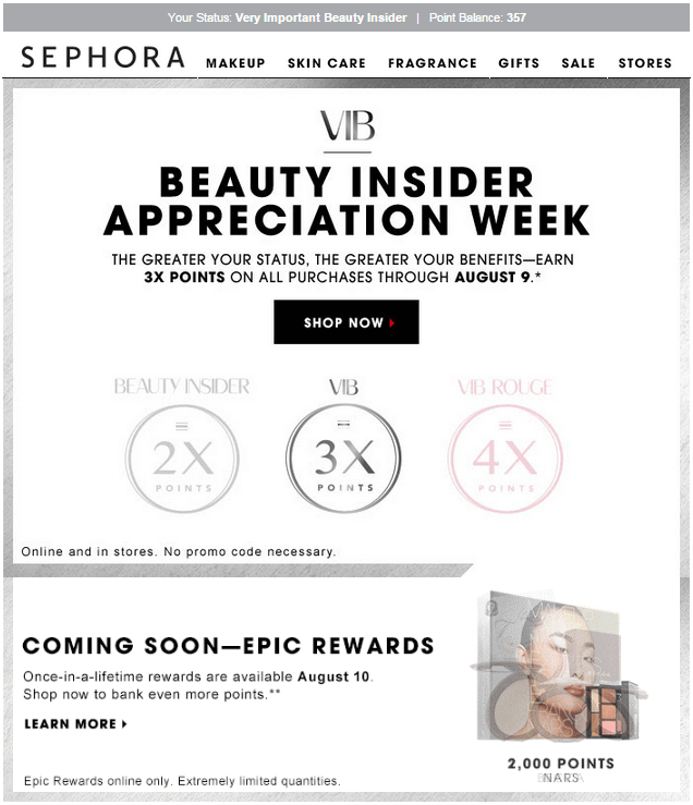 extra points event sephora event email
