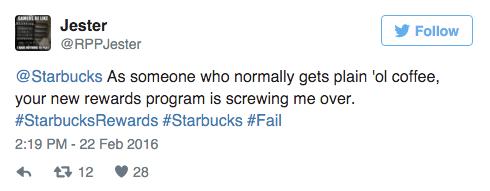 starbucks new loyalty program tweet 1