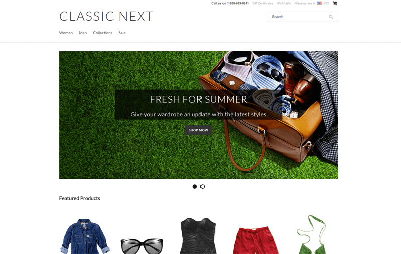 ecommerce homepage classic next