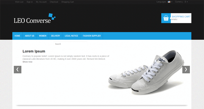 ecommerce homepage leo converse