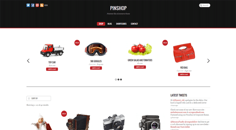 ecommerce homepage pinshop
