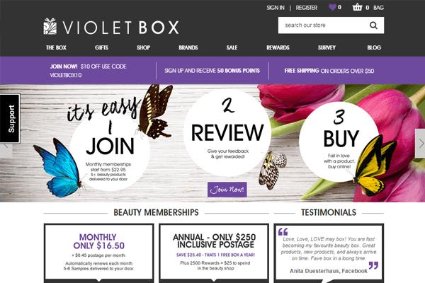 subscription boxes violet box home