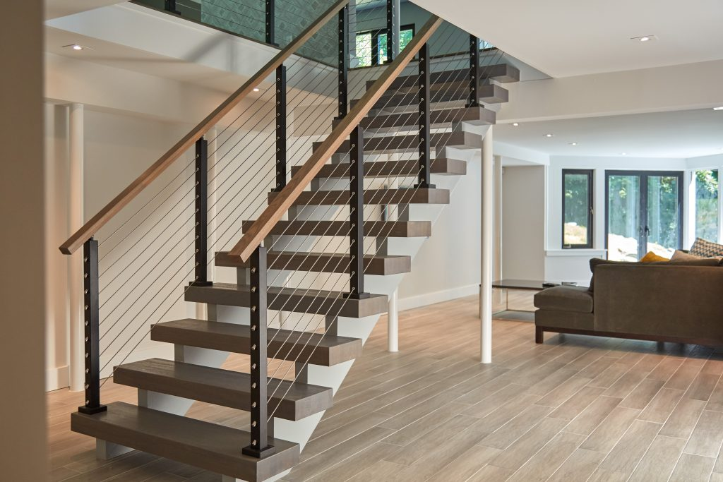 Floating stair system with white oak treads
